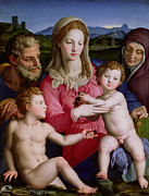 Virgin Mary Framed Prints - Holy Family with St Anne and the infant St John the Baptist Framed Print by Agnolo Bronzino
