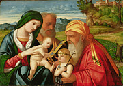 Saint  Paintings - Holy Family with St. Simeon and John the Baptist by Francesco Rizzi da Santacroce