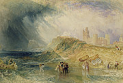 People Walking Posters - Holy Island - Northumberland Poster by Joseph Mallord William Turner