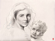 Child Jesus Drawings - Holy Mary and Christ Child by Scott Kirkman