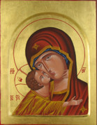 Egg Tempera Paintings - Holy Mary with Christ by Biljana Vujaklija