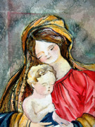 Christ Child Digital Art Prints - Holy Mother and Child Print by Mindy Newman