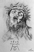 Christ Drawings - Homage to Albrecht Durer by Miguel Rodriguez