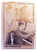 Music Legend Drawings Originals - Homage to Gershwin by Joel Iskowitz