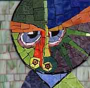 Face Glass Art Prints - Homage to Klee - Fantasy Face No.4 Print by Gila Rayberg
