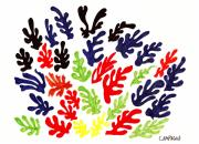 Red Leaves Drawings - Homage To Matisse by Teddy Campagna