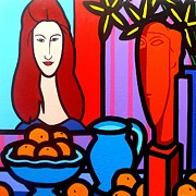 Modern Sculpture Framed Prints - Homage To Modigliani II Framed Print by John  Nolan