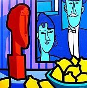 Colourful Prints Art - Homage To Modigliani by John  Nolan