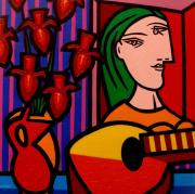 Red Guitar Framed Prints - Homage to Picasso Framed Print by John  Nolan
