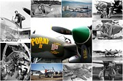 Dog Fights Prints - Homage to the P-38 Collage Print by Don Struke