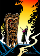 Featured Drawings Metal Prints - Homage to Tiki Metal Print by Keith Tucker