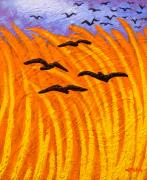 Crows Greeting Cards Prints - Homage to Vincent Van Gogh Print by John  Nolan