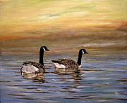 Canadian Geese Paintings - Home by Arie Van der Wijst