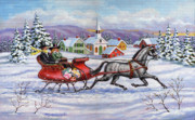Sleigh Prints - Home For Christmas Print by Richard De Wolfe