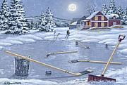 Winter Night Painting Metal Prints - Home For Supper Metal Print by Richard De Wolfe