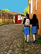 Uniforms Prints - Home from School Print by Olden Mexico