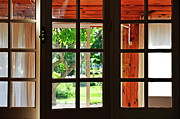 Back Porch Framed Prints - Home Garden through window Framed Print by Sami Sarkis
