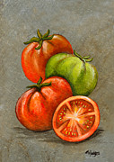 Vegetables Paintings - Home Grown Tomatoes by Elaine Hodges