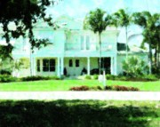 White House Mixed Media Originals - Home In Ft. Myers by Florene Welebny