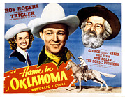 Lobbycard Photo Framed Prints - Home In Oklahoma, Dale Evans, Roy Framed Print by Everett