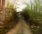 Gravel Road Paintings - Home In Time For Supper by RMDee Riggs