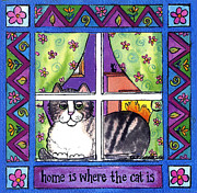 Corwin Paintings - Home is Where the Cat is Square by Pamela  Corwin