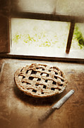 Home Made Food Photos - Home Made Pie Cooling by Open Window by Jill Battaglia