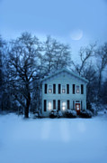 Snowy Evening Framed Prints - Home on a Wintery Evening Framed Print by Jill Battaglia