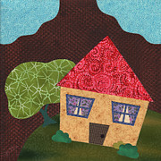 Cute Mixed Media Originals - Home on Canvas IV of IV by Janet Antepara
