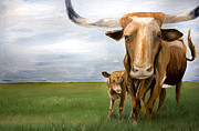 Steer Paintings - Home on the Range by Brittany Prichard