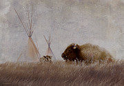 Bison Digital Art Framed Prints - Home On The Range Framed Print by Ron Jones