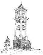 Trent Drawings Posters - Home Place Clock Tower Poster by Barney Hedrick