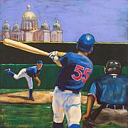 Baseball Painting Framed Prints - Home Run Framed Print by Buffalo Bonker
