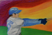 Baseball Pastels Posters - Home Run Swing Baseball Batter Poster by First Star Art