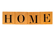 Word Prints - Home Sign Made of Wooden Blocks Print by Olivier Le Queinec