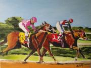 Horses Drawings - Home Stretch by Judy Kay