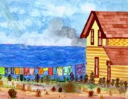 Cloudy Day Paintings - Home Sweet Home by Connie Valasco