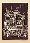 Blockprint Drawings - Home Sweet Home by Ernestine Grindal