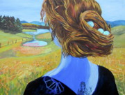 Surreal Landscape Mixed Media - Home with Nest in Hair by Tilly Strauss