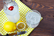 Glass Bottle Prints - Homemade traditional lemonade. Print by Richard Thomas