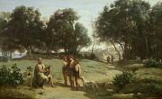 Pet Dog Framed Prints - Homer and the Shepherds in a Landscape Framed Print by Jean Baptiste Camille Corot