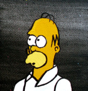 Simpsons Paintings - Homer Simpson by Jera Sky