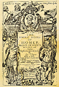 Greek Helmet Posters - Homer Title Page, 1616 Poster by Granger