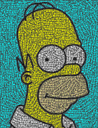 Simpsons Framed Prints - Homer Word Mosaic Framed Print by Paul Van Scott