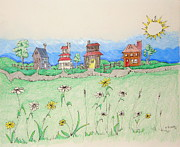 Homes Mixed Media Prints - Homes in the country Print by Denny Casto