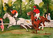 Steeplechase Race Framed Prints - Homestretch Framed Print by Jean Blackmer