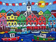 Flags Paintings - Hometown Festival by Lisa  Lorenz