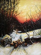 Winter Scene Drawings Metal Prints - Homeward bound Metal Print by Andrew Read