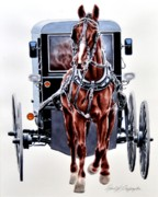 Amish Buggy Paintings - Homeward by Chad Buffington