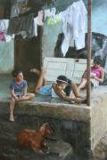 Children Painting Originals - Homework on the Porch House of Hope Nicaragua by Anna Bain